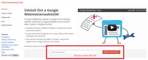 Google Webmester eszközök honlap hozzáadása