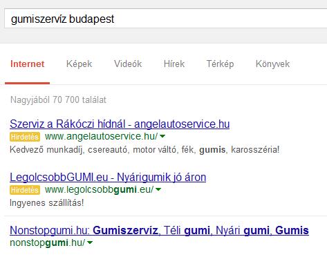Gumiszerviz Budapest SERP