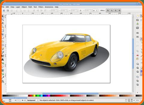 Inkscape sárga autó