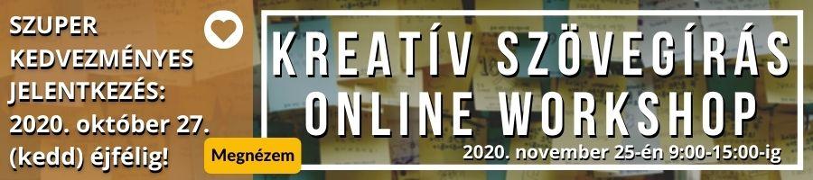 Kreatív szövegírás online workshop banner akció