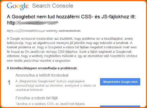 Letiltott források email Google Webmestereszközök