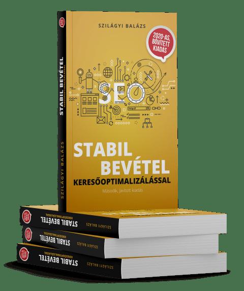 Stabil bevétel keresőoptimalizálással 2020 borító 3D látványterv