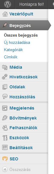 Wordpress beállítások: magyar nyelvű menü