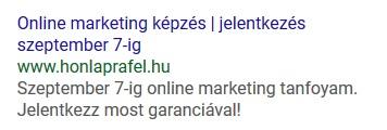 Google Ads hirdetés példa