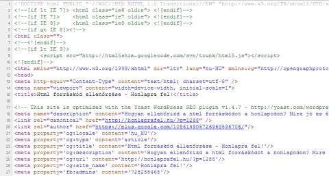 Html forráskód ellenőrzése