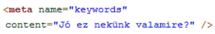 Meta keywords tag (címke) használata