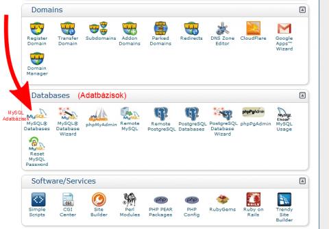 Wordpress telepításe: MySQL cPanel kezelő felülete