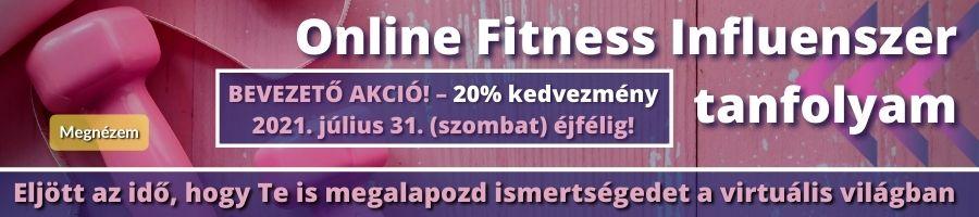 Online fitness influenszer tanfolyam banner