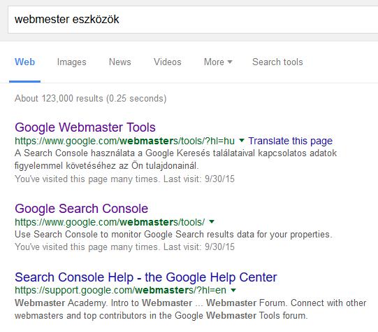 Most akkor Search Console, Webmaster Tools vagy Webmestereszközök?