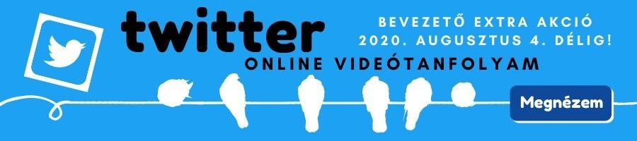 Twitter online videótanfolyam akció