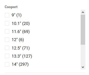 Webáruház szűrő-görgető