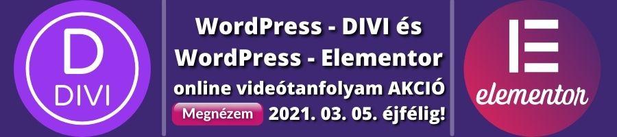 WordPress Divi és Elementor akcio banner