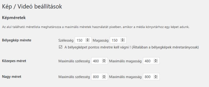 WordPress képméret beállítások