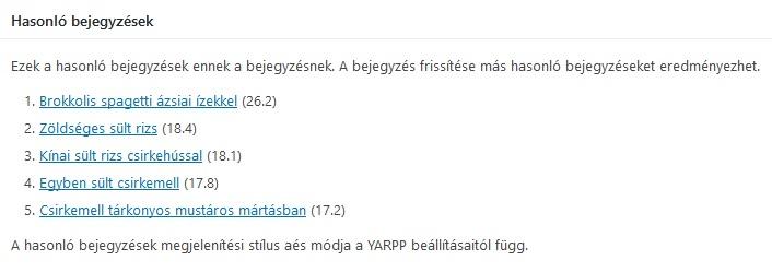 YARPP adminisztrátor nézet