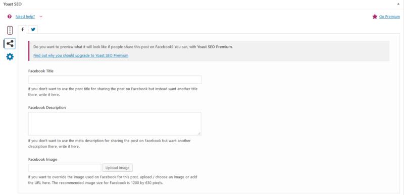 Yoast SEO Ffacebook beállítások