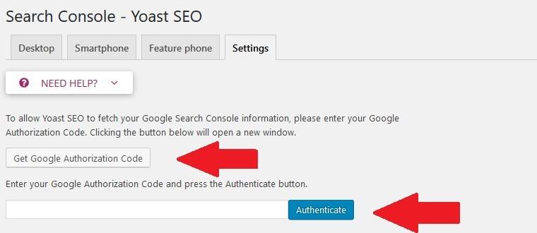 YOAST SEO Google Search Console összekapcsolás